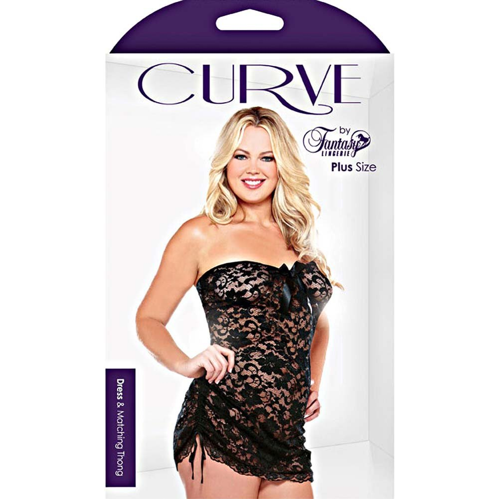 Curve Lace Strapless Dress and Matching Thong Set Plus Size 1X/2X Black - View #3
