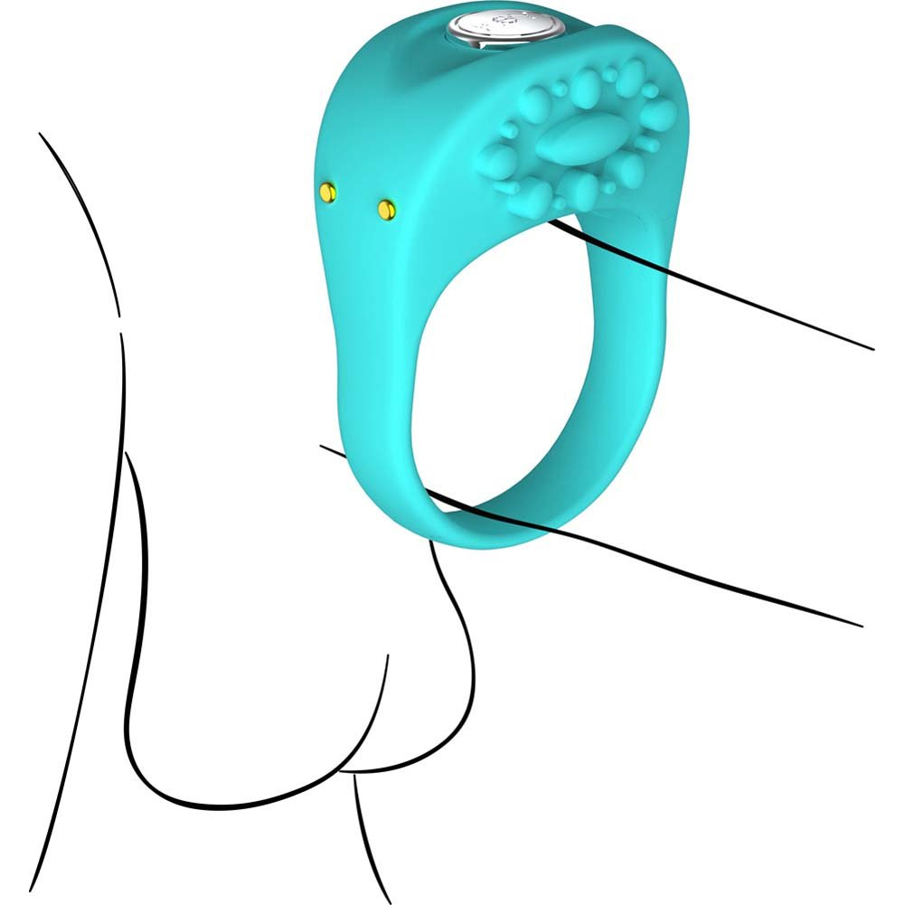 Key by Jopen Ela Rechargeable Vibrating Silicone Cock Ring Blue - View #1