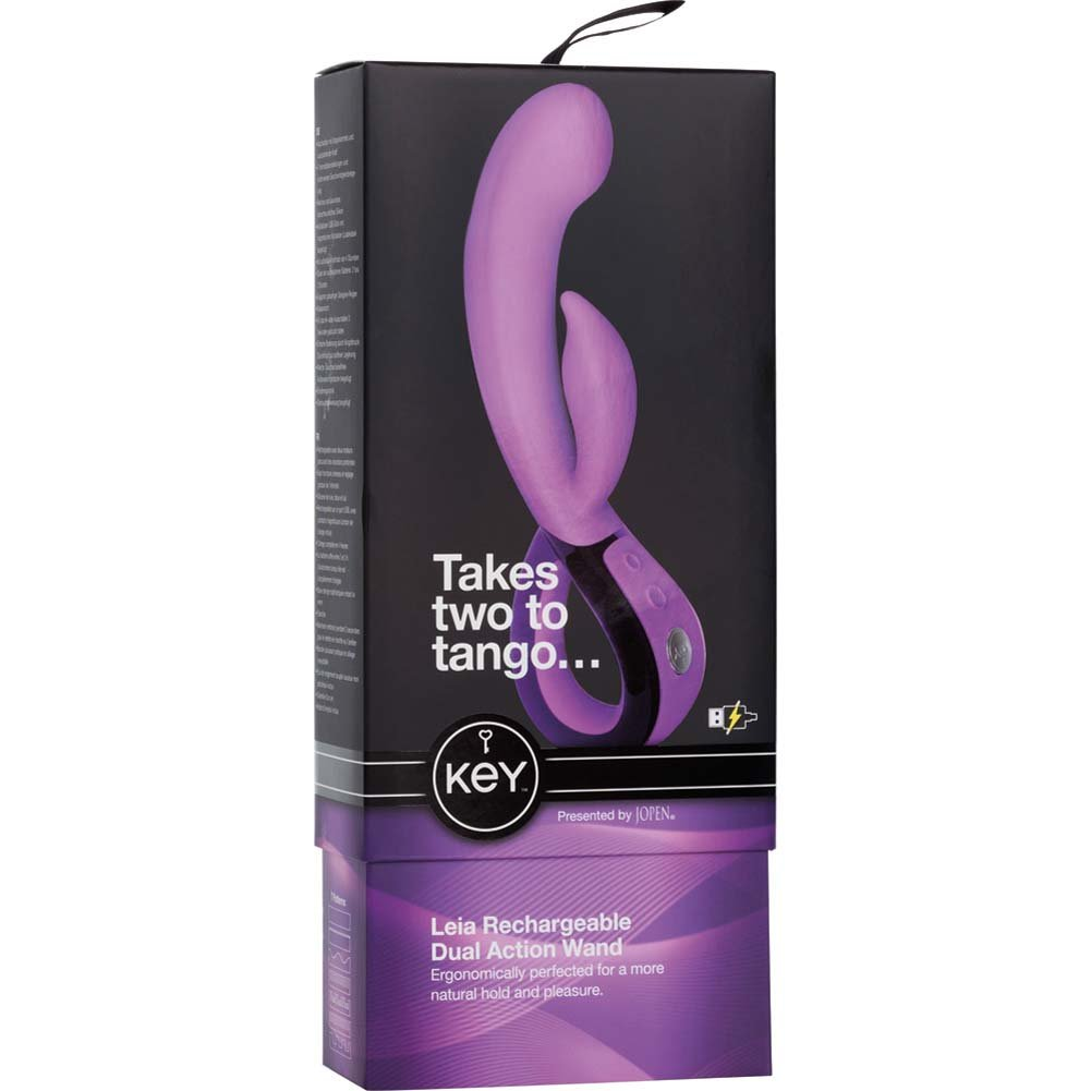 """Key By Jopen Leia Rechargeable Dual Action Silicone Vibrator 8.5"""" Lavender - View #3"""