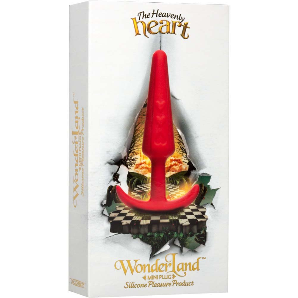 "WonderLand Heavenly Heart Silicone Mini Plug 4"" Red - View #3"
