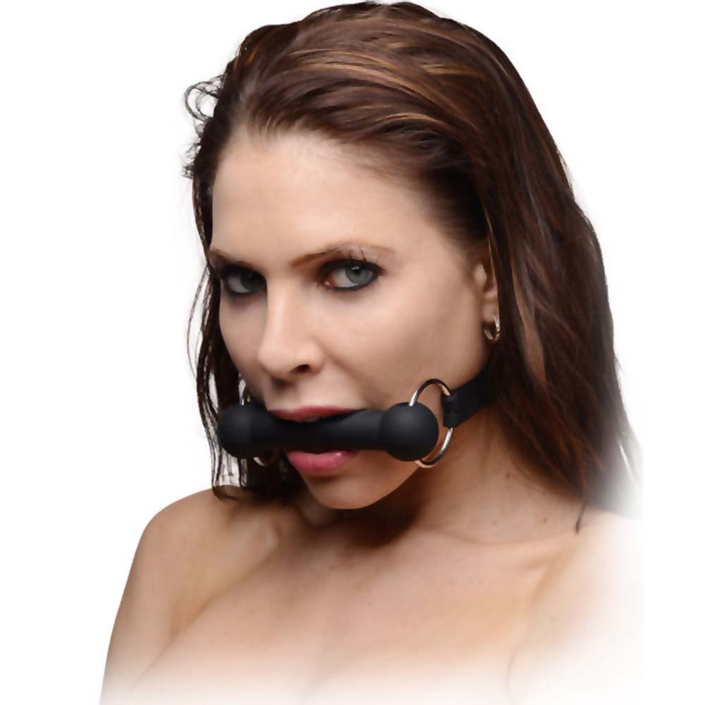 Master Series Mr. Ed Locking Silicone Bit Gag Black - View #1