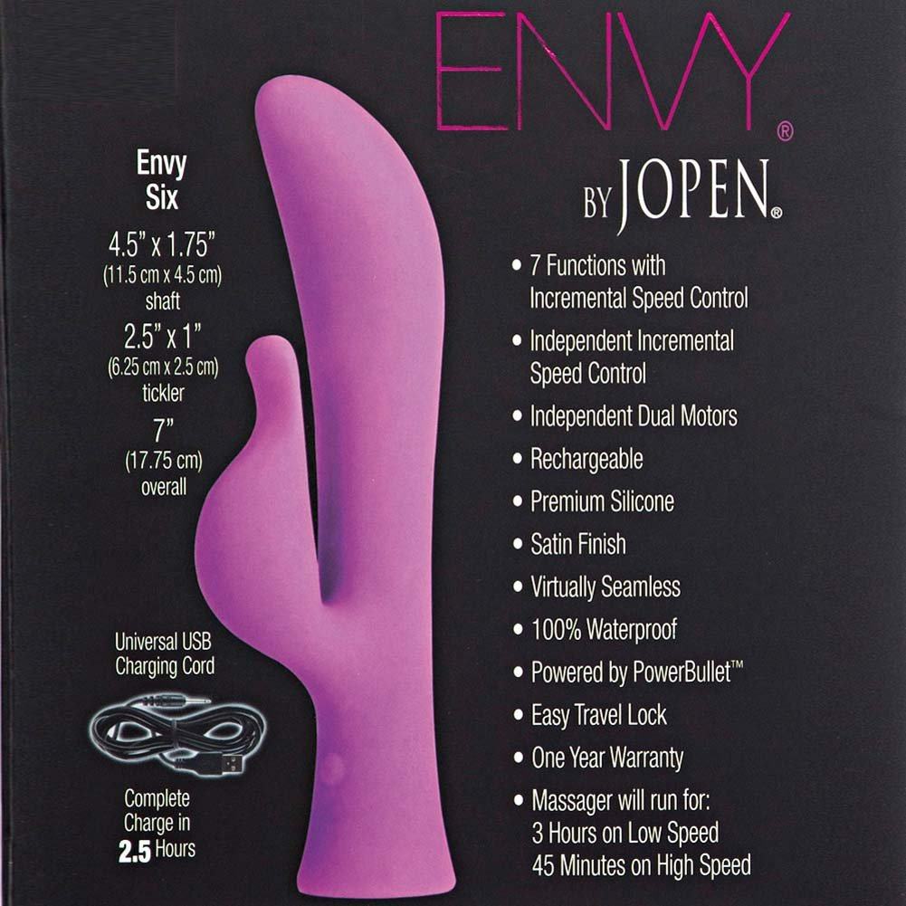 "Envy by Jopen Six Rechargeable Silicone Vibrator 7"" Pink - View #1"