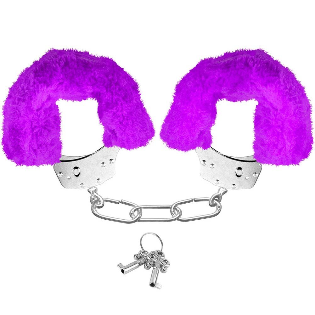 Neon Luv Touch Neon Furry Cuffs Purple - View #1