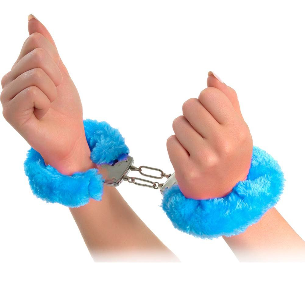Neon Luv Touch Neon Furry Cuffs Blue - View #2