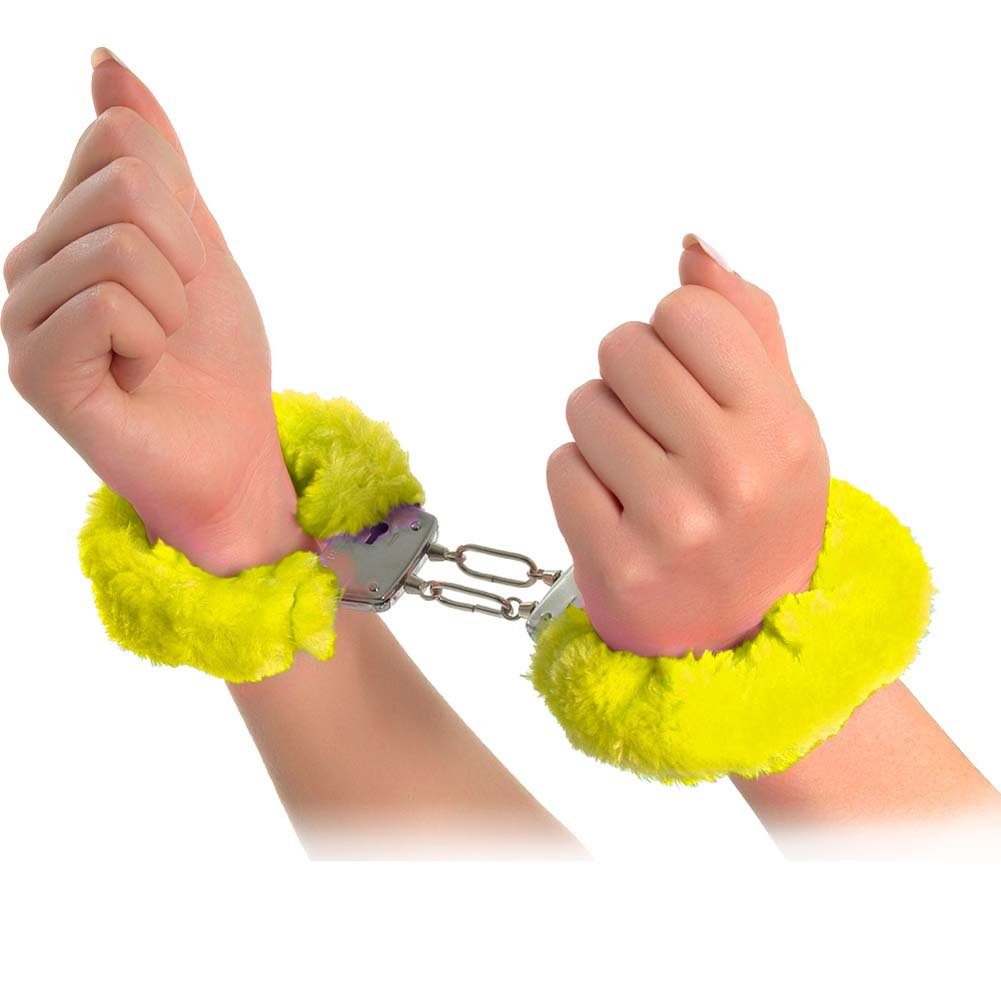 Neon Luv Touch Neon Furry Cuffs Yellow - View #2