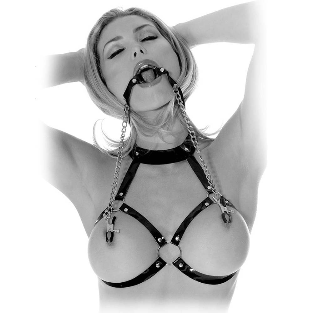 Fetish Fantasy Limited Edition O-Ring Ball Gag Nipple Clamps Black - View #1