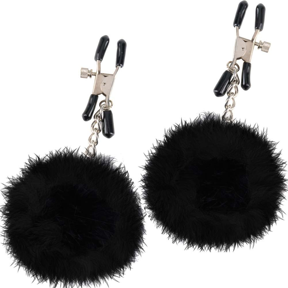 Fetish Fantasy Limited Edition Pom Pom Nipple Clamps Black - View #2
