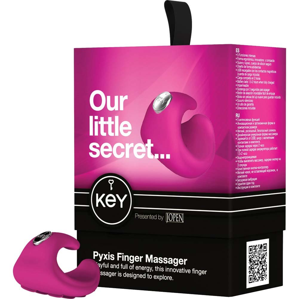 Key by Jopen Pyxis Rechargeable Vibrating Silicone Finger Massager Pink - View #4