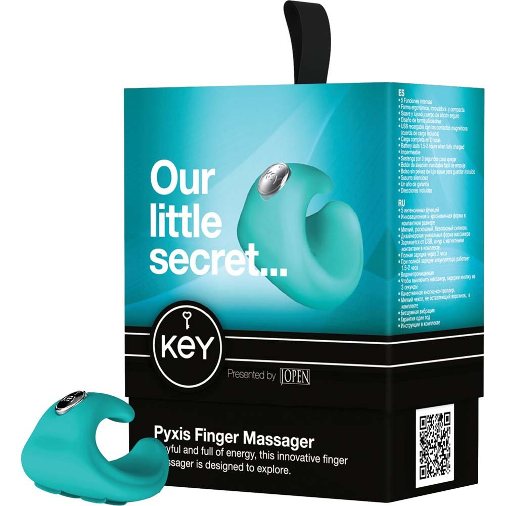 Key by Jopen Pyxis Rechargeable Vibrating Silicone Finger Massager Blue - View #4