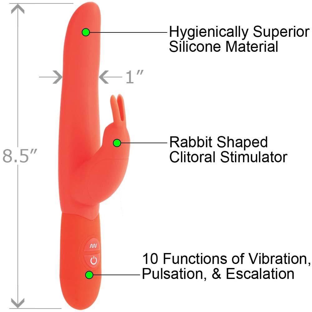 "California Exotics Posh 10 Function Silicone Bounding Bunny Vibrator 8.5"" Orange - View #1"