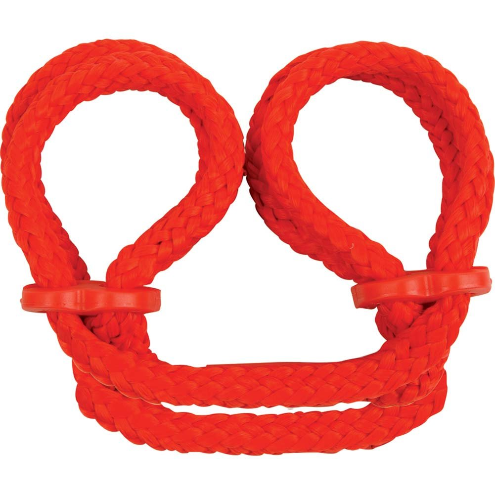 Japanese Silk Love Rope Ankle Cuffs Red - View #2