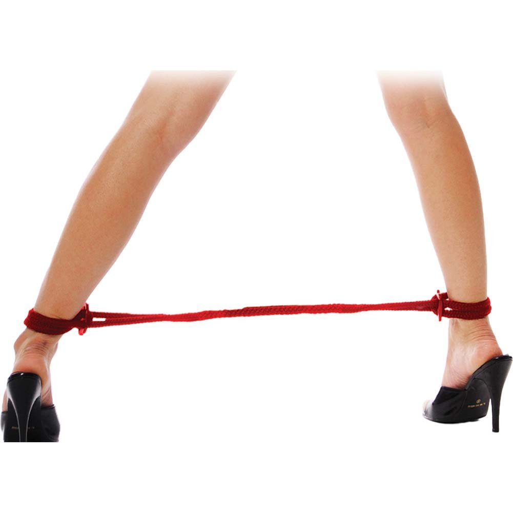 Fetish Fantasy Series Silk Rope Love Cuffs Red - View #3