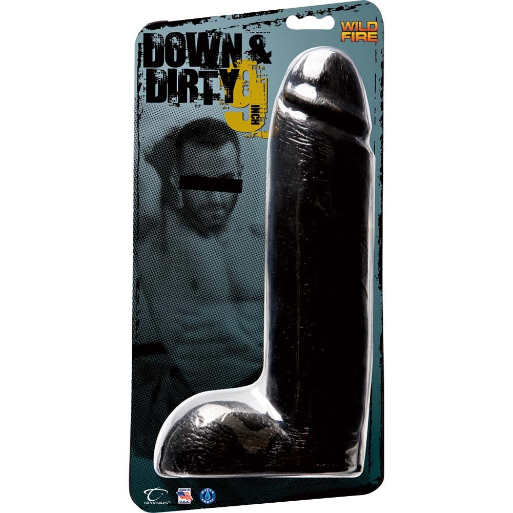 "Wildfire Down and Dirty Giant Realistic Dildo 9"" Ebony - View #1"