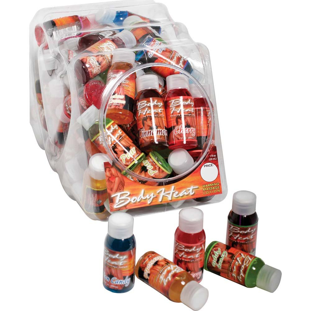 Body Heat Warming Massage Lotion Display of 48 Bottles Assorted Flavors 1 Fl.Oz Each - View #1