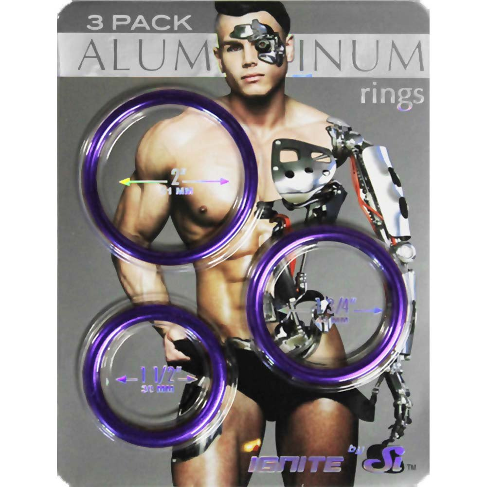 Ignite Anodized Aluminum Cock Ring 3-Pack Royal Purple - View #1