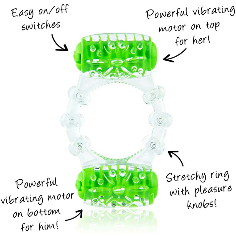Screaming O ColorPoP Quickie Two-O Double Pleasure Vibrating Ring Green - View #1