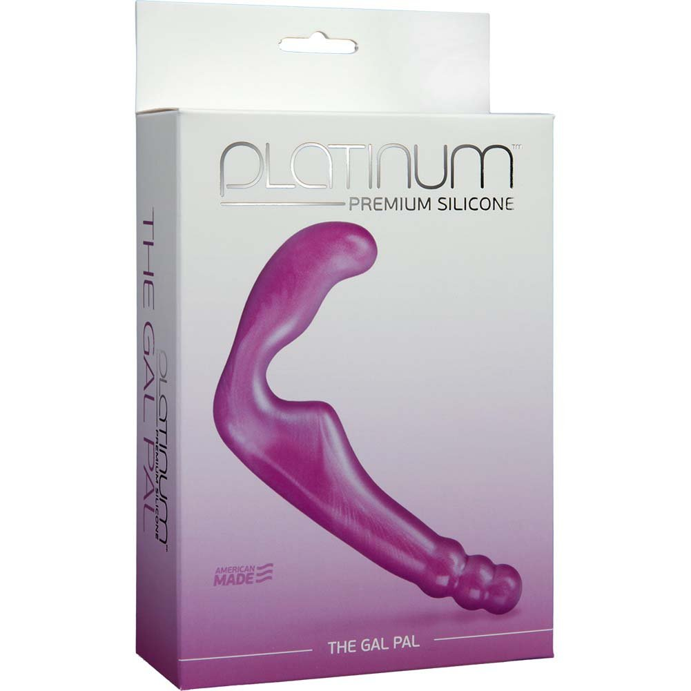 "Platinum Silicone Gal Pal Strapless Strap-On Dong 8"" Purple - View #1"