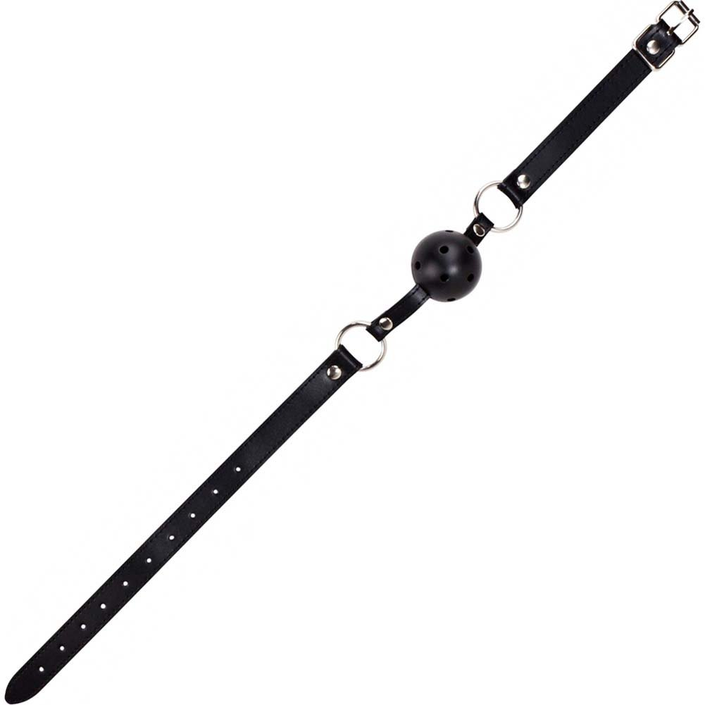 Ouch Gag Ball with Leather Straps Black - View #1