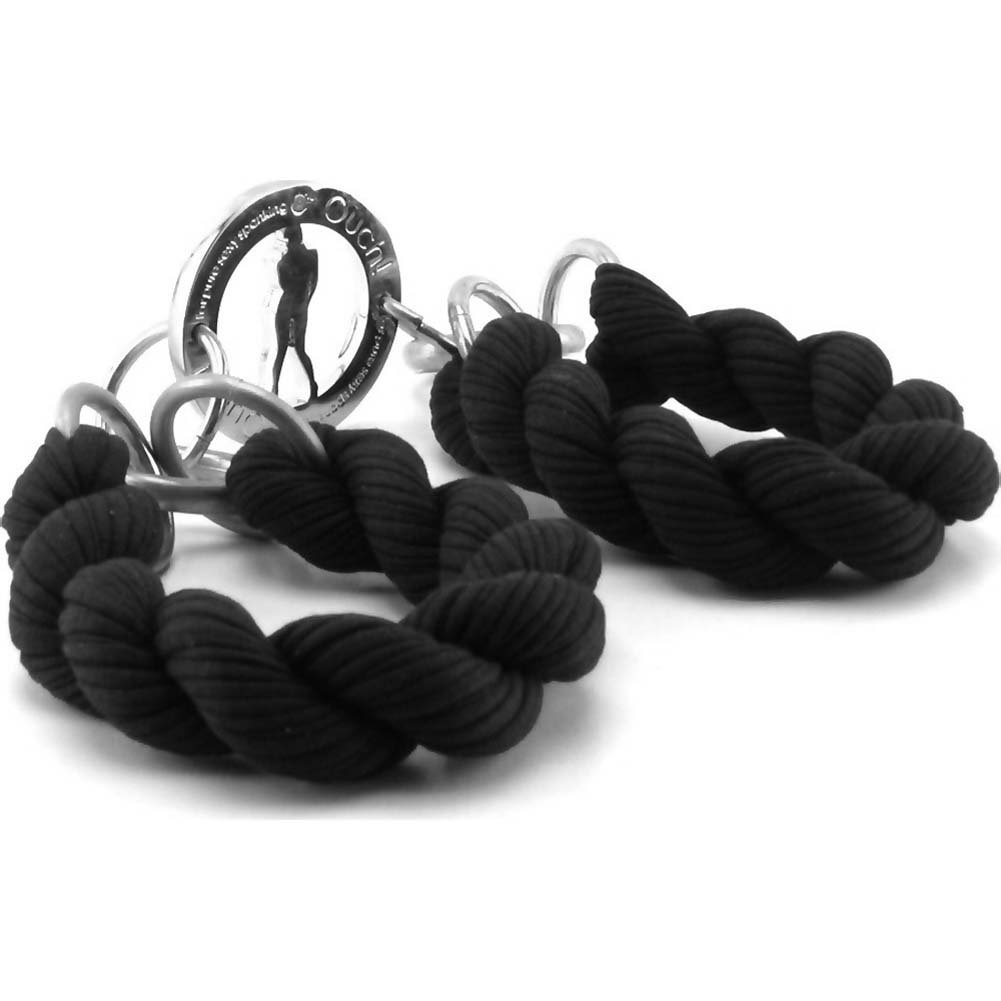 Ouch Soft Braided Hand Cuffs Black - View #3