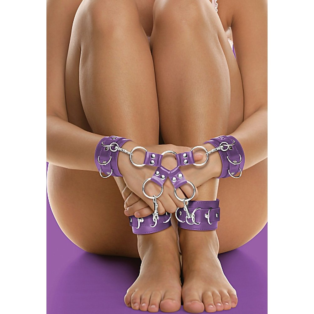 Ouch Leather Hand and Legcuffs Purple - View #1