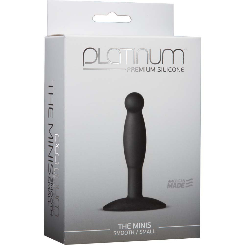 "Platinum Silicone The MINIS Smooth Small Anal Plug 3.5"" Black - View #1"