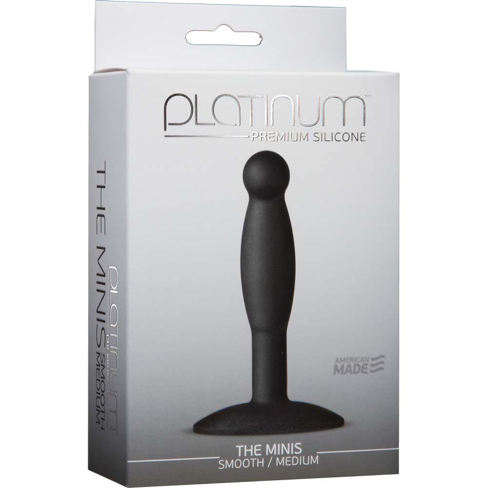 "Platinum Silicone The MINIS Smooth Medium Anal Plug 4"" Black - View #1"