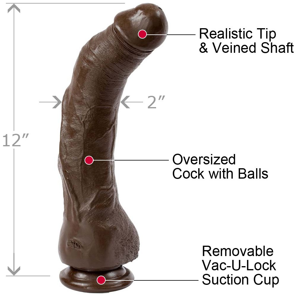"Black Thunder Realistic Cock 12"" Black - View #1"