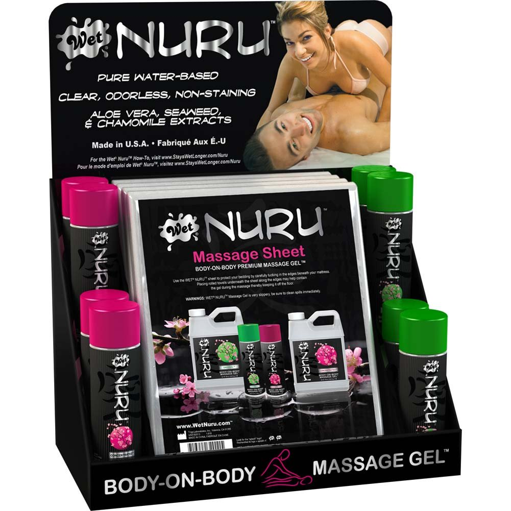 Wet Nuru Body-On-Body Massage Gel and Massage Sheet 12 Pieces Counter Display - View #1