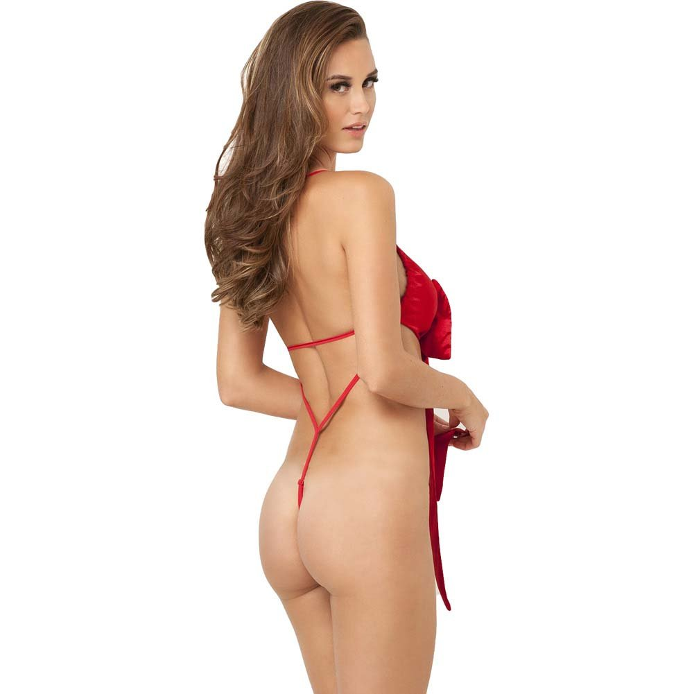 Rene Rofe Unwrap Me One Piece Satin Bow Teddy Small/Medium Red - View #2