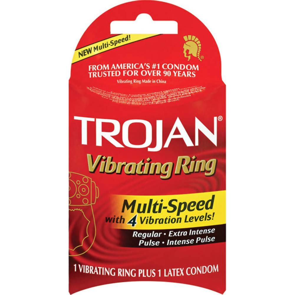 Trojan Multi-Speed Vibrating Ring with Latex Condom - View #1