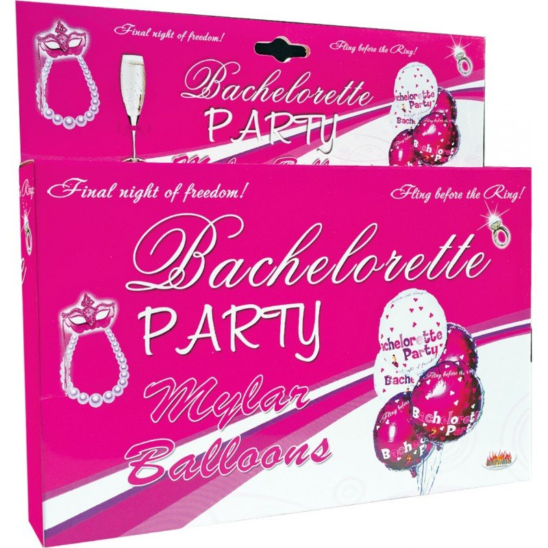Bachelorette Party Foil Balloons Set 9 Pieces Assorted Colors - View #1