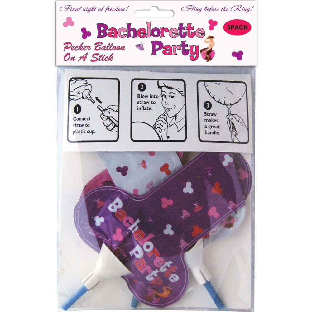 Bachelorette Party Foil Balloon On a Stick 3 Pieces - View #1