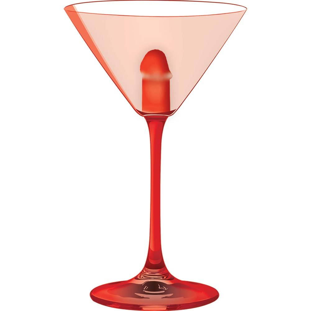 Light Up Martini Weenie Glass Red - View #2