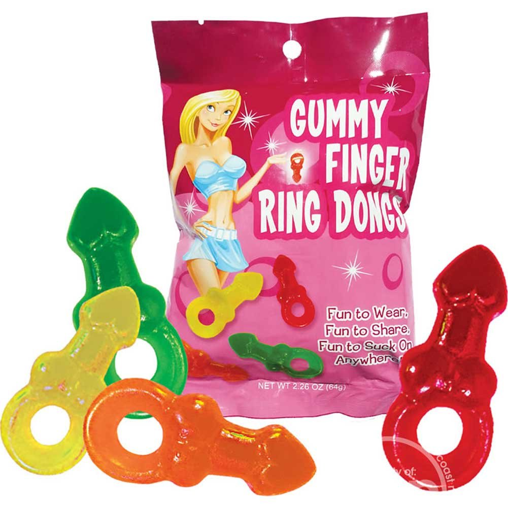 Gummy Finger Ring Dongs Display of 12 Bags - View #1