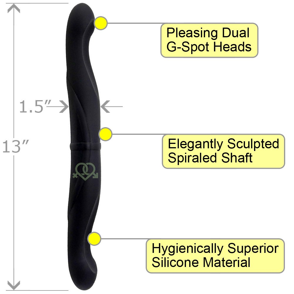 "OptiSex Elite Silicone Double Dildo with Dual G-Spot Heads 13"" Kinky Black - View #1"