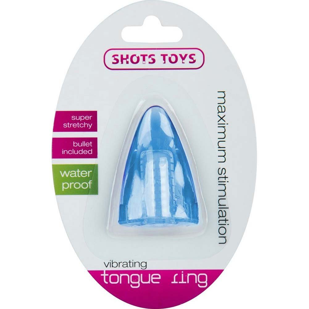 Shots Toys Vibrating Tongue Ring Blue - View #1