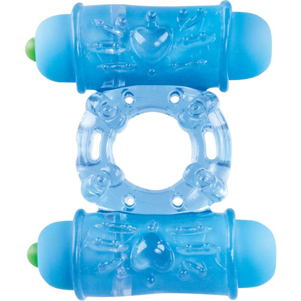 Shots Toys Double Vibrating Bullet Ring Blue - View #2
