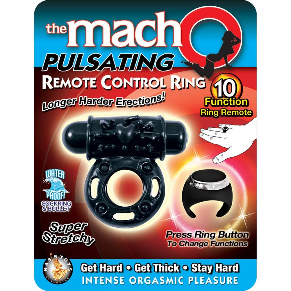 Macho Pulsating Remote Control Ring Black - View #1