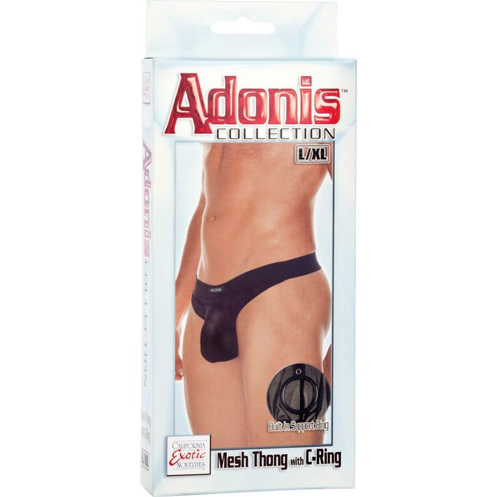 Adonis Collection Mesh Thong with C-Ring Large/Extra Large Black - View #3