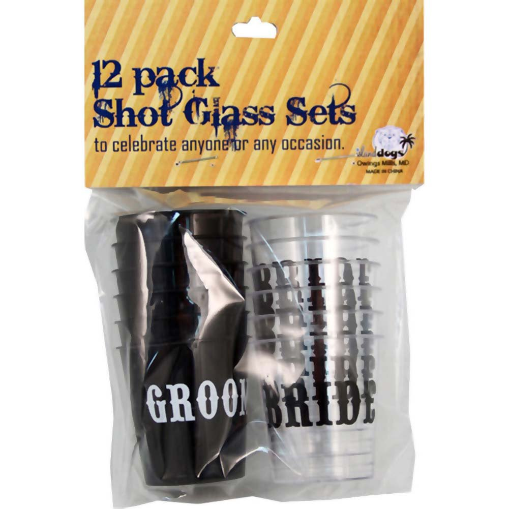 Bride/Groom Shot Glass Set 12 Count Pack - View #1