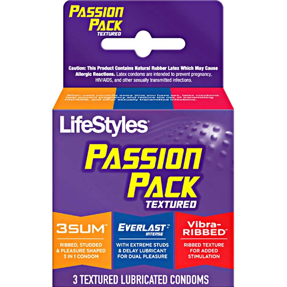 LifeStyles Passion Pack Textured Lubricated Latex Condoms 3 Pack - View #1