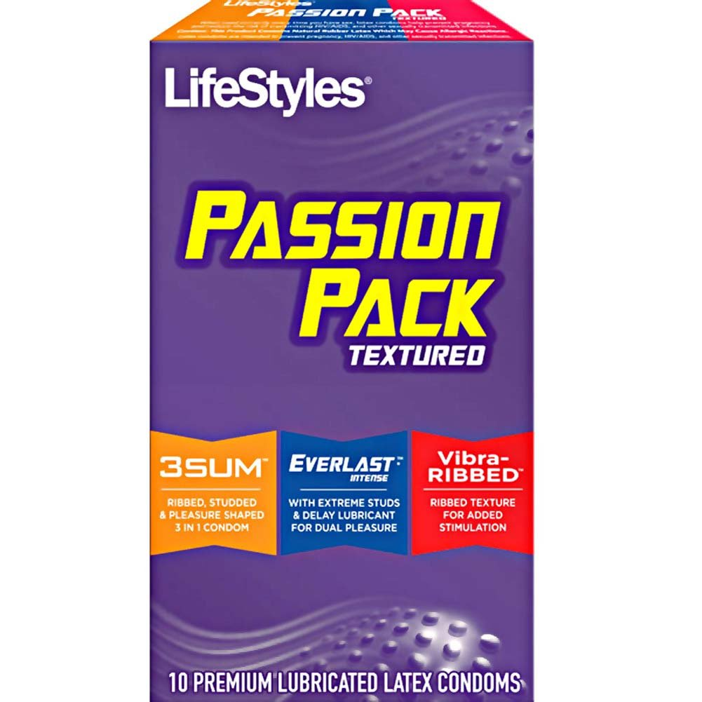 LifeStyles Passion Pack Textured Lubricated Latex Condoms 10 Pack - View #1
