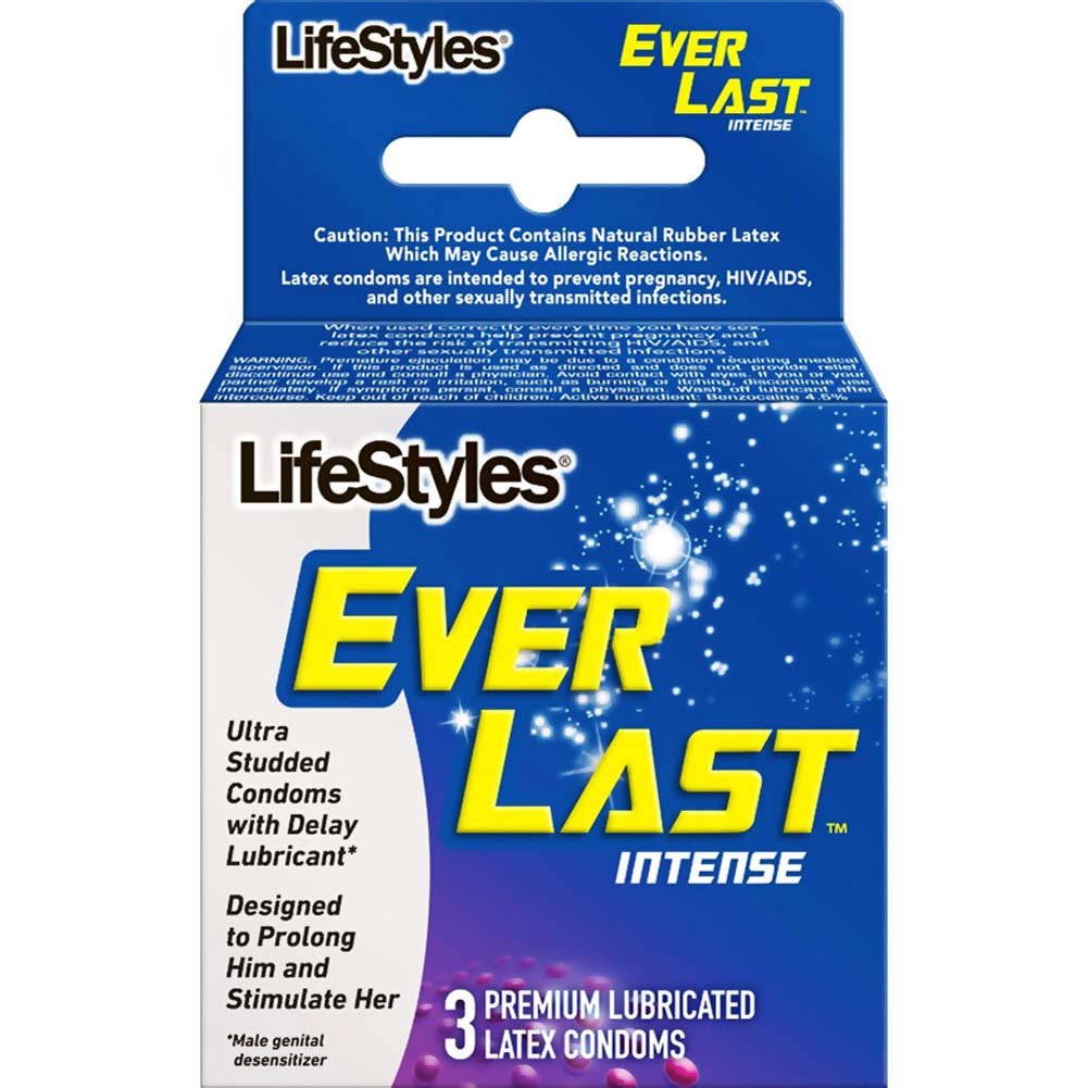 LifeStyles Ever Last Intense Lubricated Condoms 3 Pack - View #1