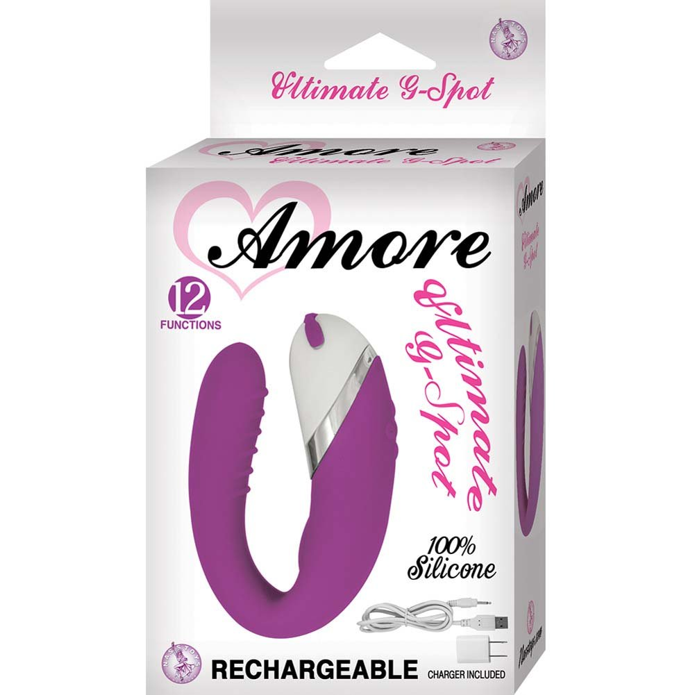 "Amore Ultimate G-Spot Silicone USB Rechargeable Vibrator 4"" Purple - View #1"