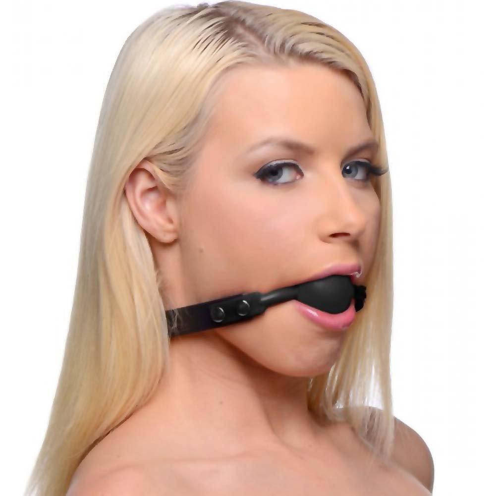 Master Series Hush Locking Silicone Ball Gag Black - View #1