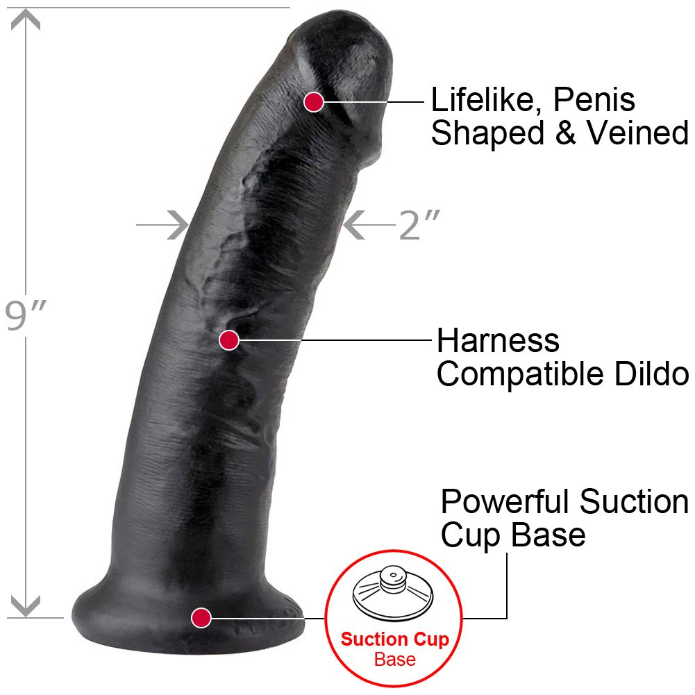 "King Cock 9"" Cock Black - View #1"