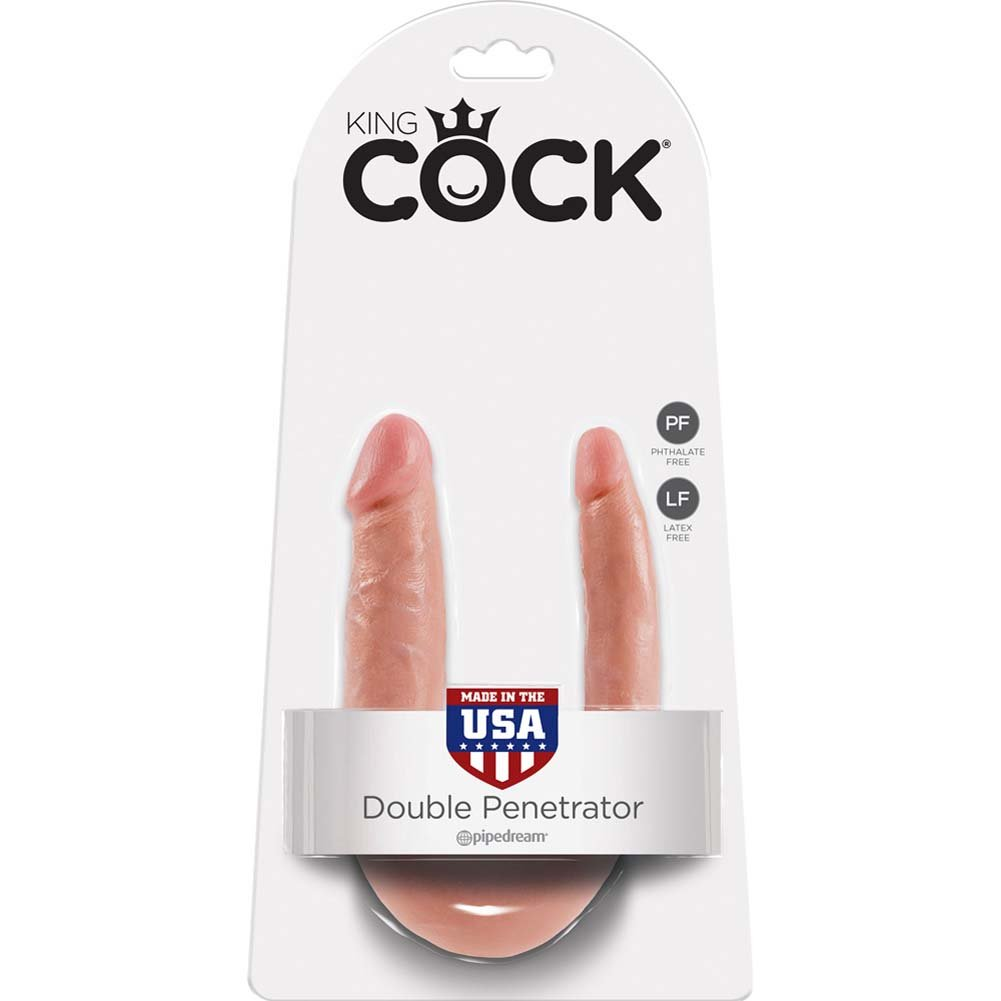 King Cock U-Shaped Small Double Trouble Dildo Flesh - View #1
