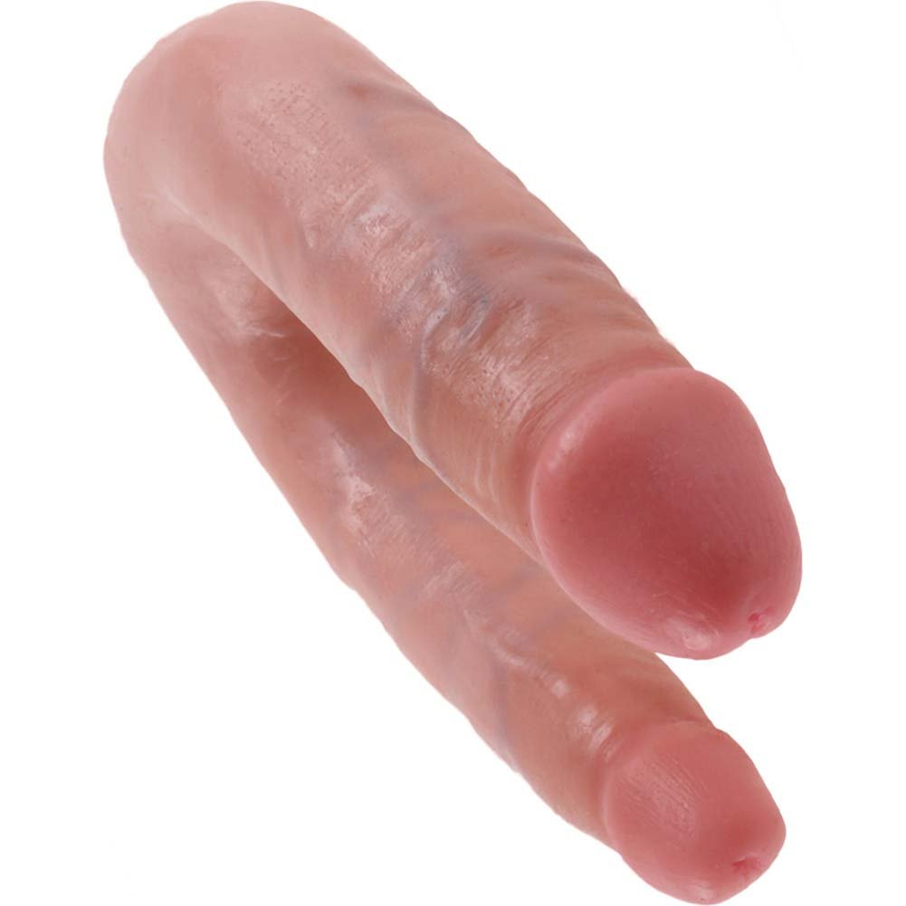 King Cock U-Shaped Small Double Trouble Dildo Flesh - View #3