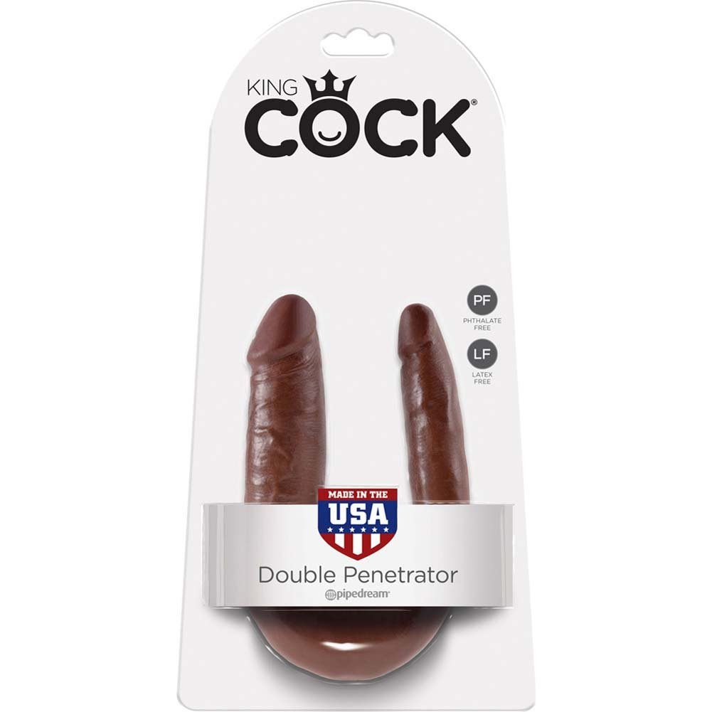 King Cock U-Shaped Small Double Trouble Dildo Brown - View #1