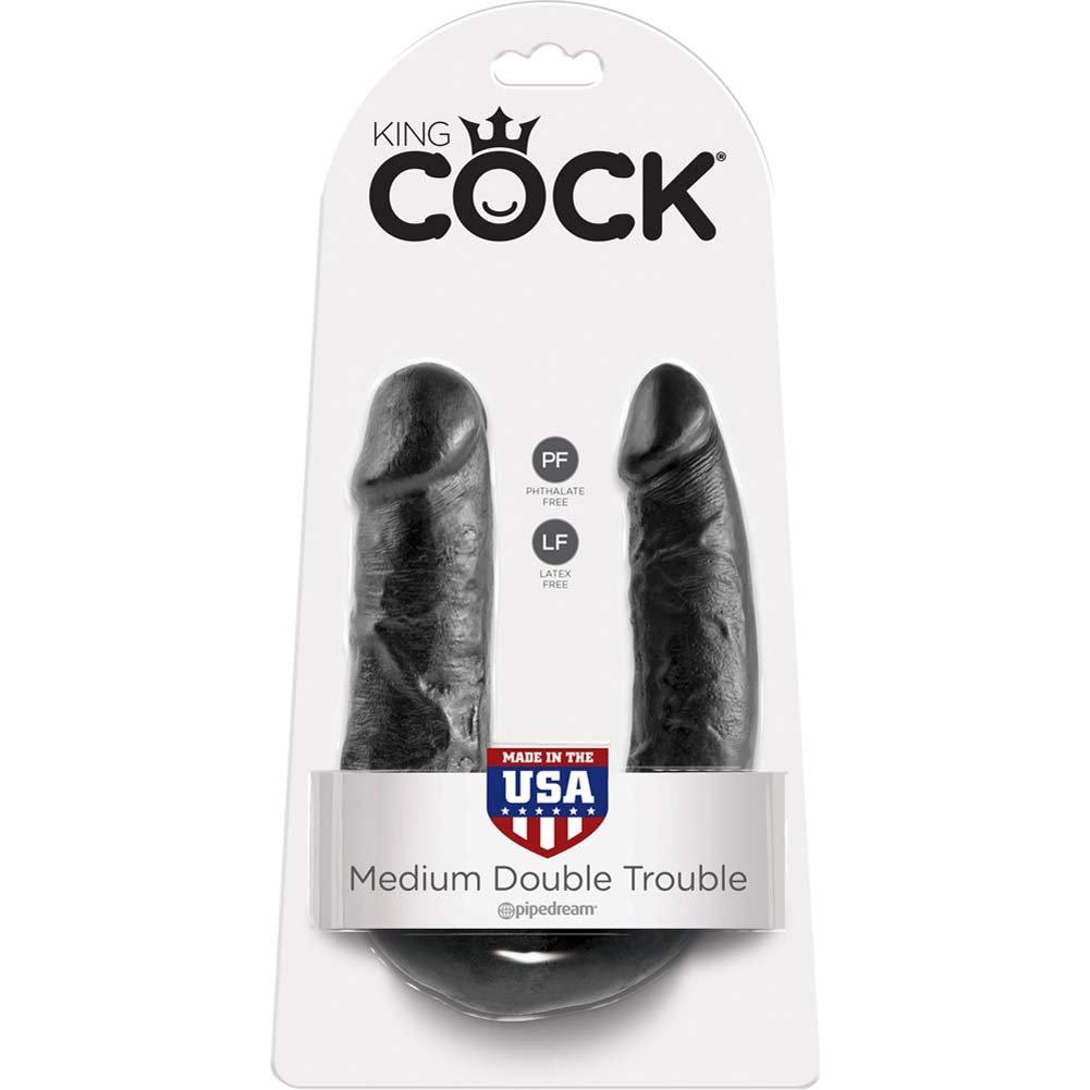 King Cock U-Shaped Medium Double Trouble Dildo Black - View #1